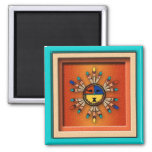 Katchina Sun Face 2 Inch Square Magnet
