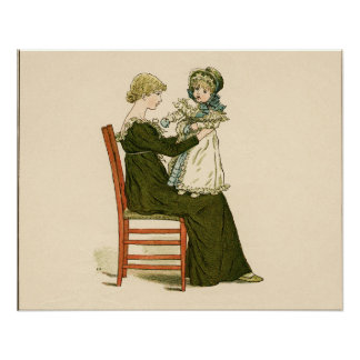 Kate Greenaway Baby Playing Antique Illustration Poster
