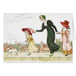 Kate Greenaway children cute vintage art blank Card