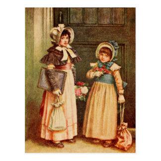 Kate Greenaway Dos chicas que van a la escuela Postal