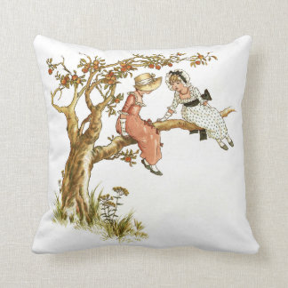 Kate Greenaway Girls in Apple Tree Throw Pillow