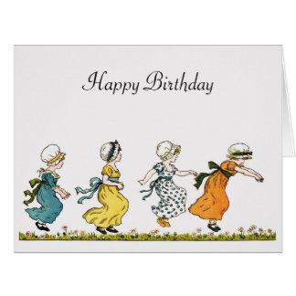 Kate Greenaway jumping girls vintage art birthday Card