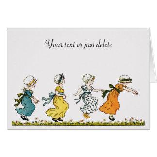 Kate Greenaway jumping girls vintage art custom Card