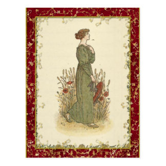 Kate Greenaway Poppy Postcard