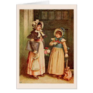 Kate Greenaway: Two girls going to school Card