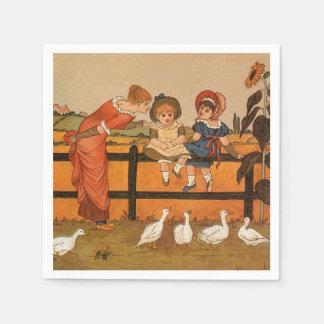 Kate Greenaway, Victorian woman children ducks Napkin