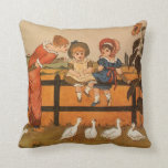 Kate Greenaway, Victorian woman children ducks Pillow