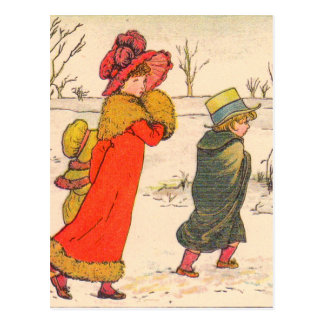 Kate Greenaway winter scene Postcard