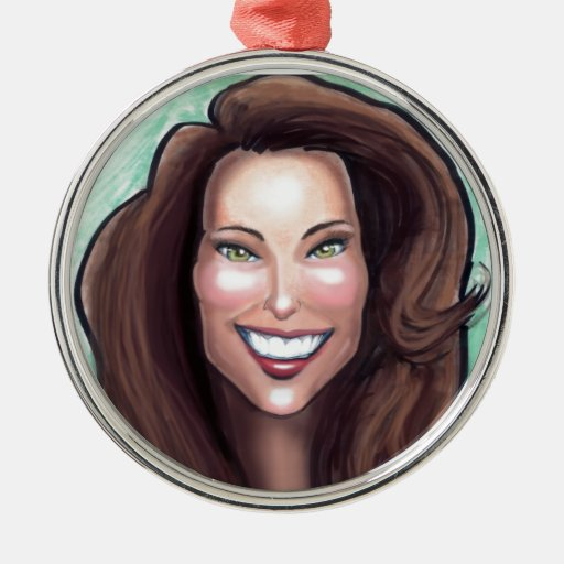 Kate Middleton Caricature Round Metal Christmas Ornament