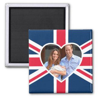 , Kate, príncipe George - bandera británica Imán Cuadrado