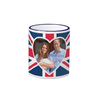 , Kate, príncipe George - bandera británica Tazas