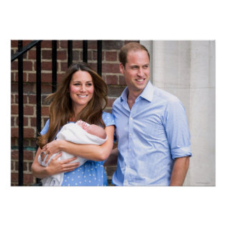 Kate & William with Newborn Son Poster