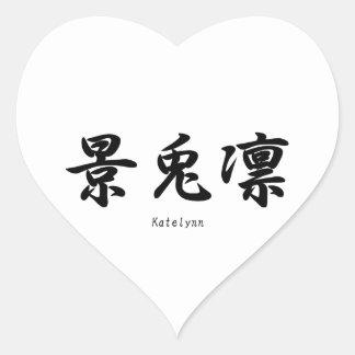 Katelynn translated into Japanese kanji symbols. Heart Stickers