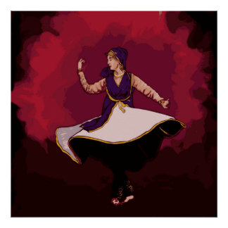 Kathak Dancer - a solo performance in Vector Poster