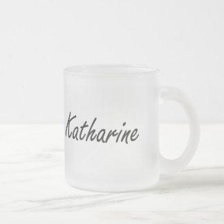 Katharine artistic Name Design 10 Oz Frosted Glass Coffee Mug