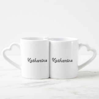 Katharine Classic Retro Name Design Couples' Coffee Mug Set