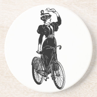 Katherine, a Vintage Cyclist Drink Coaster