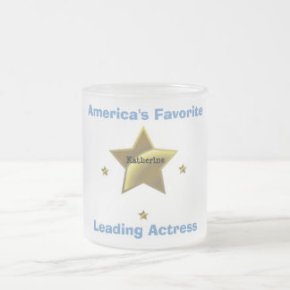 KATHERINE: AMERICA'S FAVORITE LEADING ACTRESS FROSTED GLASS COFFEE MUG