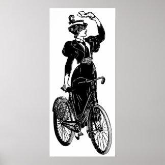 Katherine ciclista del vintage impresiones