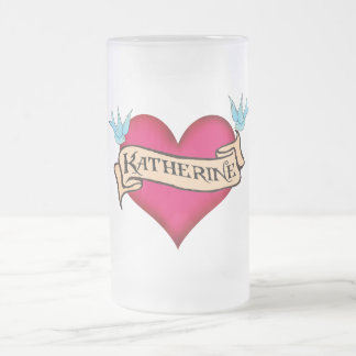 Katherine - Custom Heart Tattoo T-shirts & Gifts Frosted Glass Beer Mug