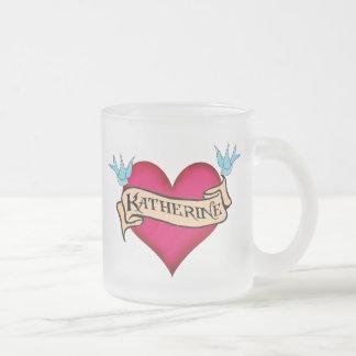Katherine - Custom Heart Tattoo T-shirts & Gifts Frosted Glass Coffee Mug