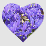 Katherine Hodgkin Irises Blue Purple Spring Floral Heart Sticker