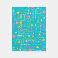 Katherine personalized name aqua pink blanket