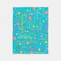 Katherine personalized name aqua pink blanket
