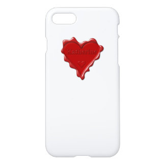 Katherine. Red heart wax seal with name Katherine iPhone 7 Case