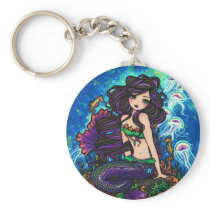 """Kathleen"" Mermaid and Jellyfish Keychain"