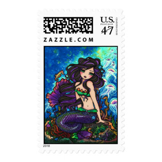 """Kathleen"" Mermaid and Jellyfish Stamps"