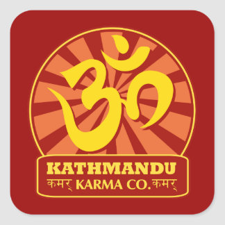 Kathmandu New Age and Buddhist Om Symbol Square Sticker
