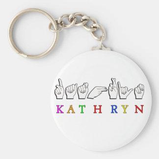KATHRYN ASL NAME SIGN FINGERSPELLED BASIC ROUND BUTTON KEYCHAIN