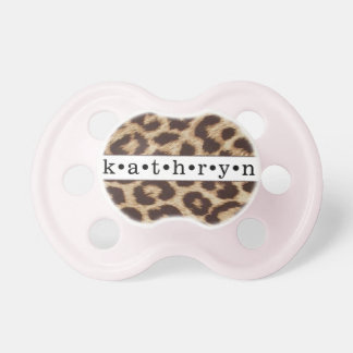 """Kathryn"" Personalized Cheetah Print Pacifier"