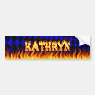 Kathryn real fire and flames bumper sticker design
