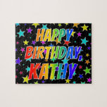 "[ Thumbnail: ""Kathy"" First Name, Fun ""Happy Birthday"" Jigsaw Puzzle ]"