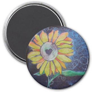Kathy's Sunflower 3 Inch Round Magnet