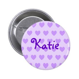 Katie en púrpura pin redondo de 2 pulgadas