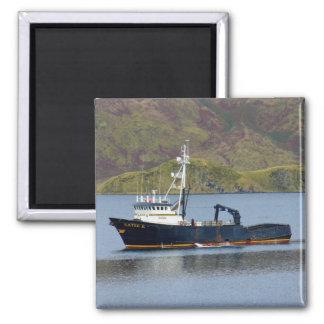 Katie K, Crab Boat in Dutch Harbor, Alaska 2 Inch Square Magnet