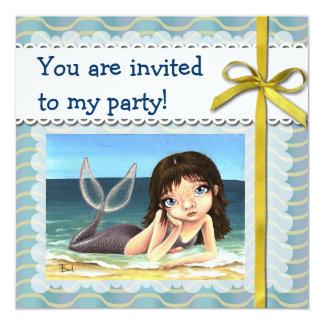 """Katie la sirena invitación 5.25"""" x 5.25"""""""