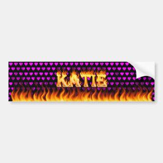 Katie real fire and flames bumper sticker design. car bumper sticker