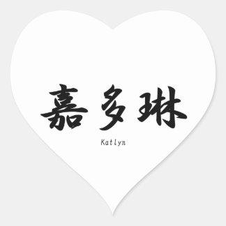 Katlyn tradujo a símbolos japoneses del kanji calcomanías corazones