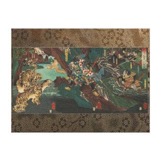 Kato Kiyomosa to tiger hunting in Korea. Canvas Print