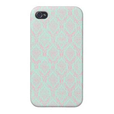 Beach Themed Katrina: Teal and Pink Damask iPhone 4 Case