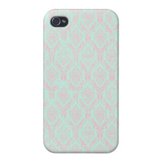 Katrina: Teal and Pink Damask iPhone 4 Case
