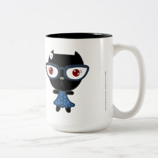 Kats con Glassez: Blacky Kat Taza De Dos Tonos