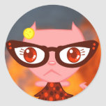 Kats con Glassez: Mún pegatina rosado