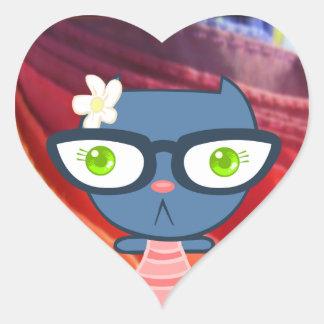 Kats con Glassez: Pegatinas azules del gatito Pegatina Corazón