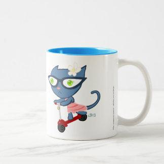 Kats con Glassez: Taza azul de la vespa del gatito
