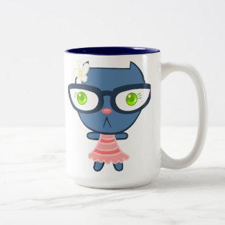 Kats con Glassez: Taza azul del gatito